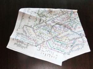 鉄道路線図のハンカチ