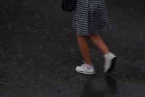 雨の中を走る